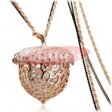 Golden nutty necklace with crystal - gift for her