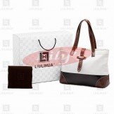 LLH Canvas With Leather Trim Designer Tote