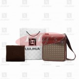 LLH Chessboard Canvas With Brown Leather Trim Designer Messenge Bag