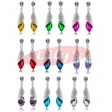 Beautiful silver earrings with crystal - various colour available - gift for her