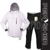PERYSHER Mens Snowboard Ski Suit | Stylish White Dimension Jacket & Black Pants