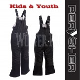 PERYSHER Extra Warm Black Snowboard Ski Bibs / Pants for Kids & Youth