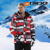 RIDE Mens Hemi Snowboard Ski Jacket [ Red Grey Grid Crossover ]