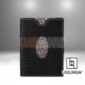 LLH - LiuLiHua Black Leather Tri-Fold Unisex Wallet