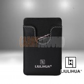 LLH - LiuLiHua Black Leather  Unisex Adhesive Mobile Card Holder