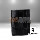 LLH - LiuLiHua Black Scaly PU Leather Tri-Fold Unisex Wallet - Square Window