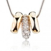 Beautiful Gold Ring necklace with crystal - great gift idea