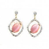 Beautiful gemsttone earring surounded with crystal pieces - gift for her