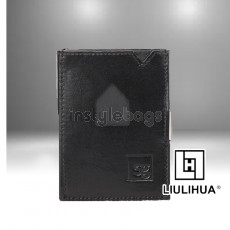 LLH - LiuLiHua Black Calf Leather Tri-Fold Perfect Gift Unisex Wallet