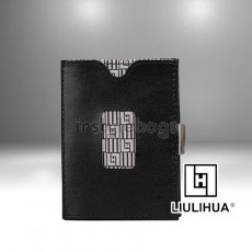 LLH - LiuLiHua Leather Tri-Fold Great Gift Unisex Wallet Black