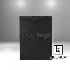 LLH Black Leather Tri-Fold Wallet for Men & Women