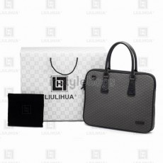 LLH Men's Lattice Embroldery Bussiness Briefcase