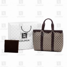 LLH Lady's Fortune Canvas With Dark Leather Trim HangBag