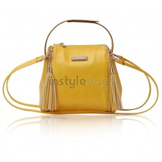 Cute Lady's Yellow PU Leather Shoulder Bag / Tote Handbag