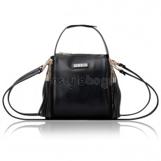 LLH Lady's Black PU Leather Shoulder Bag