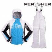 PERYSHER Extra Warm Kids Snowboard Ski Jacket and Pants - Sky-Blue Children Suit