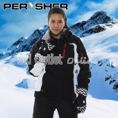 PERYSHER Racer V2 Womens Black Snowboard Jacket / Ski Jacket for Ladies