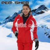 PERYSHER Racer V2 Womens Snowboard / Ski Jacket - Vivid Snazzy Red & White