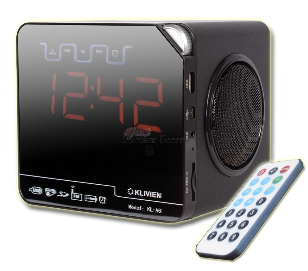 KLIVIEN Portable Remote Control Speaker Alarm Clock - USB, FM Raido, SD