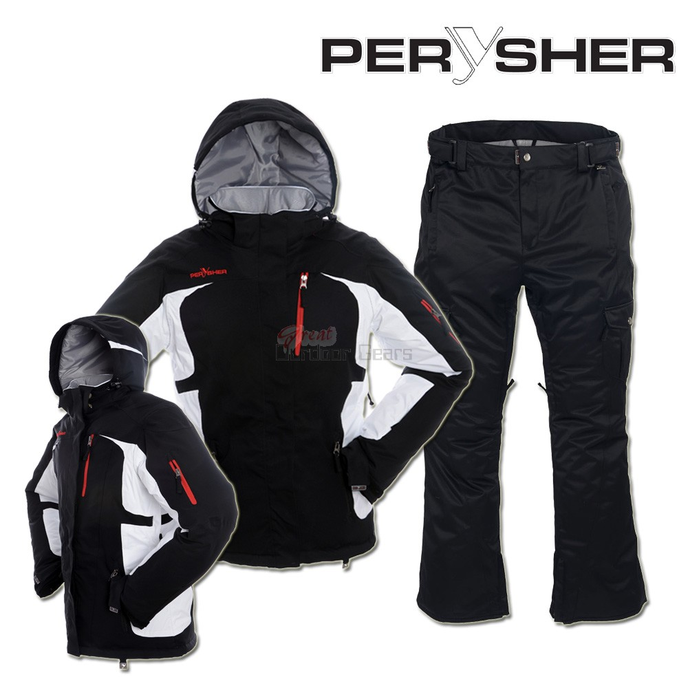 PERYSHER Womens Snowboard / Ski Suit: Racer V2 Jacket & Liberty Pants [ Onxy Black Set ]