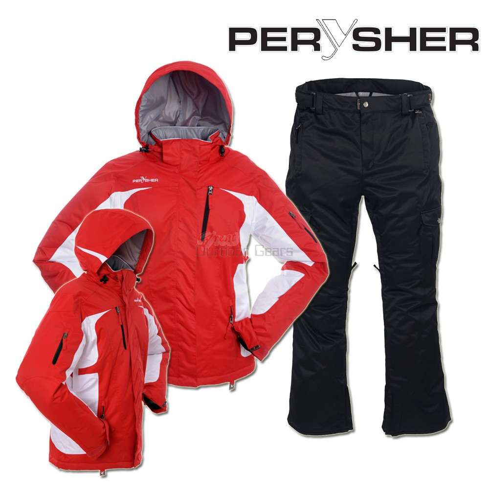 PERYSHER Womens Snowboard / Ski Suit : Racer V2 Jacket & Liberty Pants - Red & Black Set