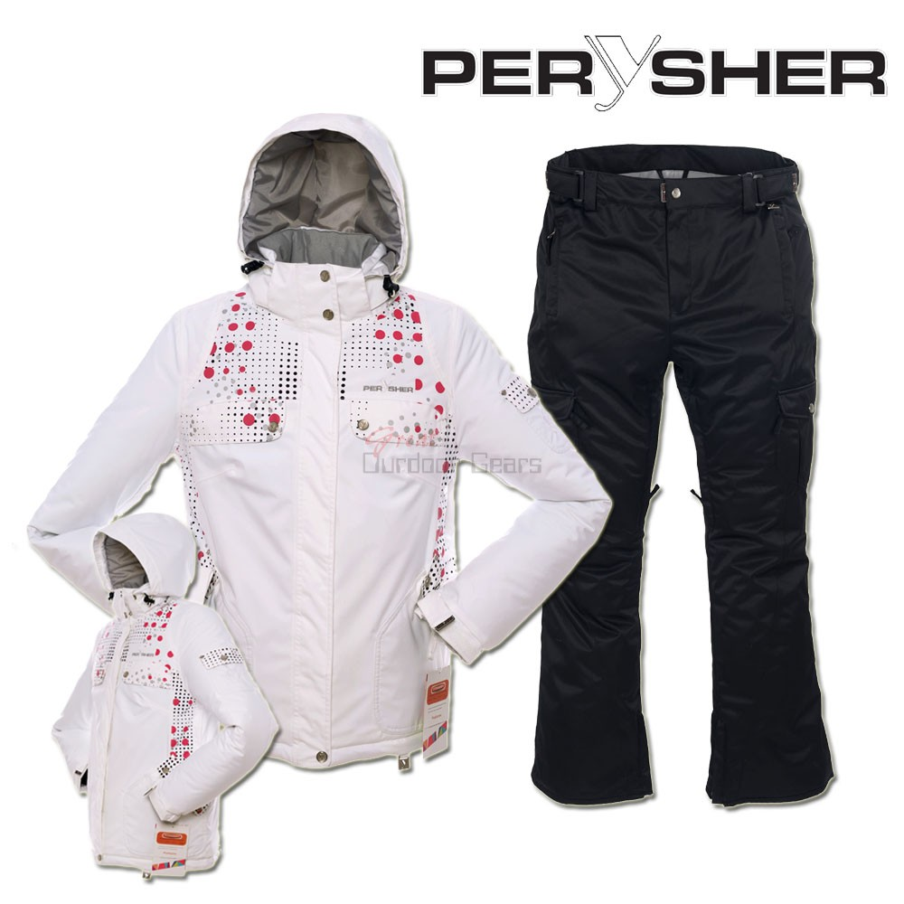 PERYSHER  Zara V2 Womens Board / Ski Jacket & Pants for Ladies White & Black Set