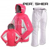 PERYSHER Womens Snowboard / Ski Suit: Racer V2 Jacket & Liberty Pants [Sweet Pink & White Set]