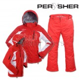 PERYSHER Womens Snowboard / Ski Suit: Racer V2 Jacket & Liberty Pants - Coke Red Combo