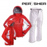 PERYSHER Womens Snowboard / Ski Set: Racer V2 Jacket & Liberty Pants | Red & White Suit