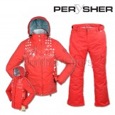 PERYSHER  Zara V2 Womens Board / Ski Jacket & Pants Set for Ladies -- Coke Red