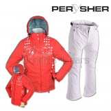 PERYSHER  Zara V2 Womens Board / Red Ski Jacket & White Pants for Ladies - Red White Set