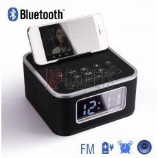 HOMTIME Speaker System with Radio Alarm For iPhone / Android Phone - Black