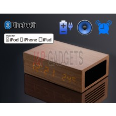 HOMTIME Wooden Bluetooth Speaker Charger Alarm Thermometer For iPod / iPhone / Android Phone