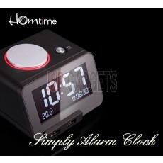 HOMTIME C1-Black Alarm Clock / USB Charger / Thermometer