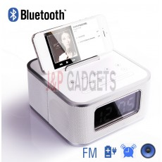 HOMTIME Speaker System with Radio Alarm For iPhone / Android Phone - White