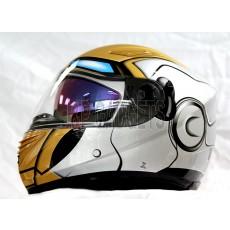 Awesome MASEI Silver Ironman Motorcycle Motorbike Helmet - DOT & ECE Approved