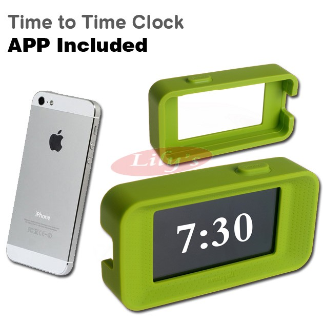 Designer Green Alarm Clock Cover & App for iPhone - Made In Taiwan