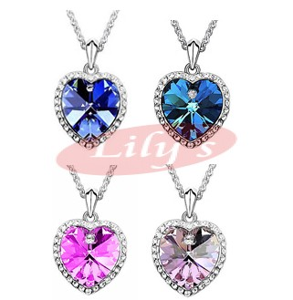Love heart crystal necklace with silver chain - perfect gift idea