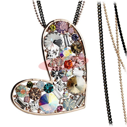 Love heart necklace - multicolour crystals - great gift idea