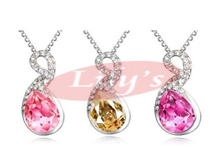Nice silver necklace with crystal - gift for her
