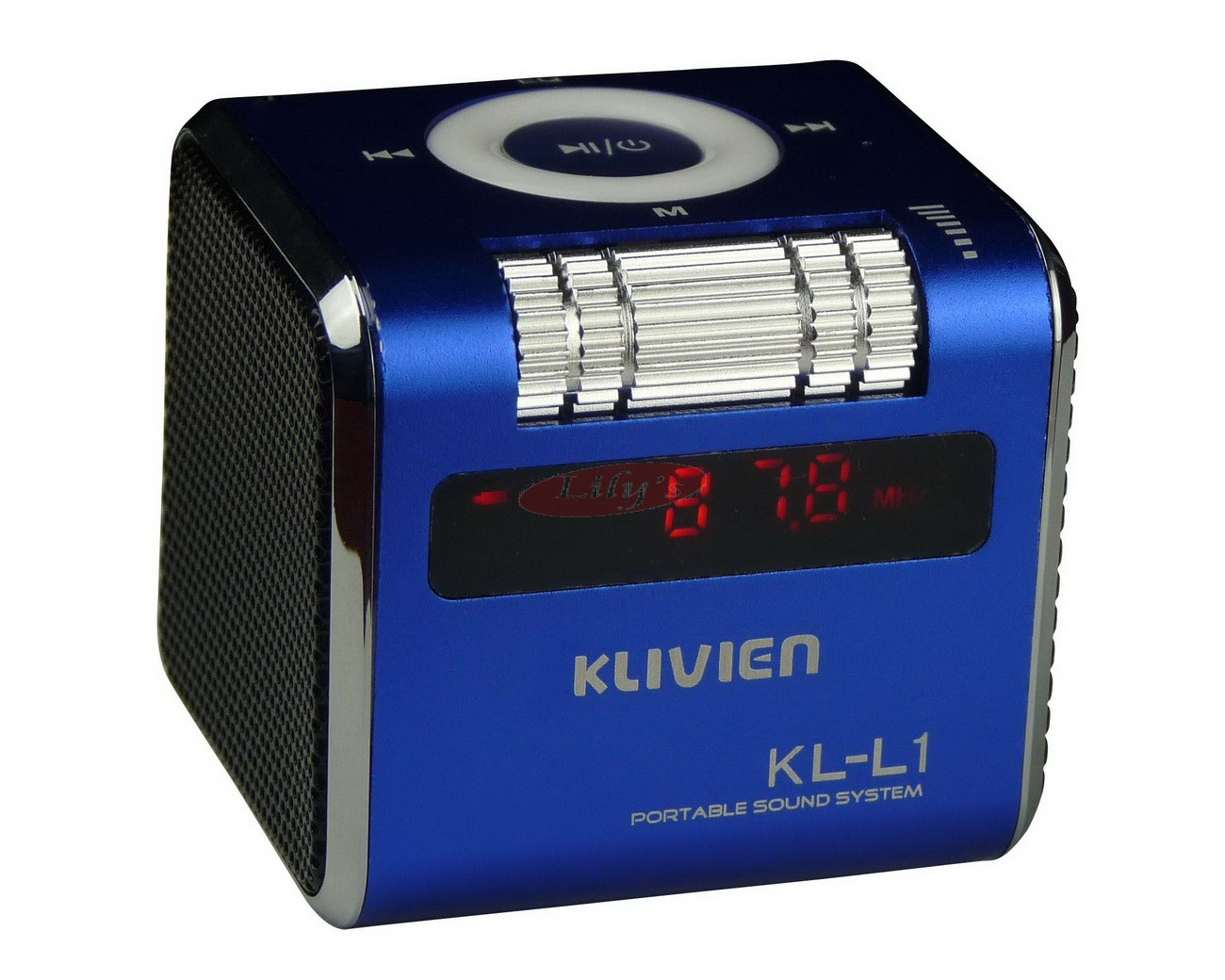 Stylish Aluminium Portable Blue Mini Wireless Speaker / FM Radio / Alarm Clock