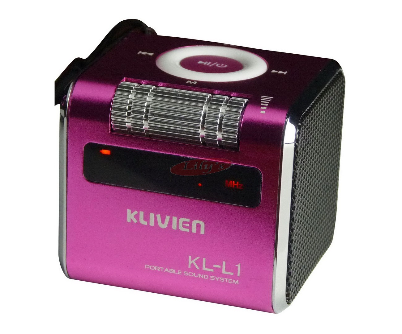 Stylish Aluminium Portable Mini Speaker / FM Radio / Alarm Clock-Pink