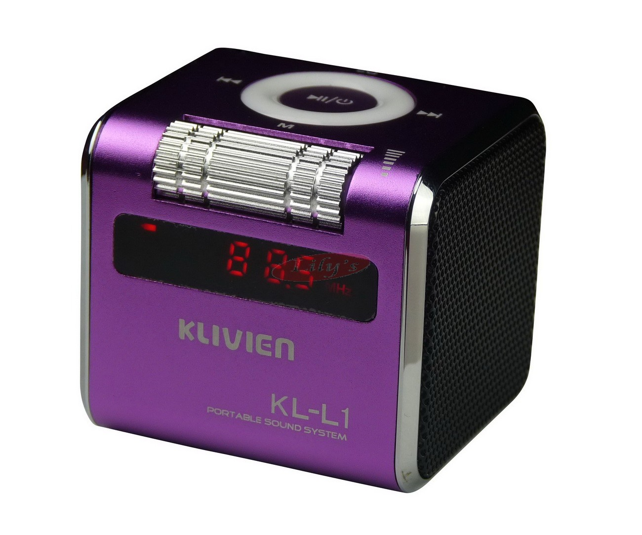 Stylish Aluminium Portable Purple Mini Wireless Speaker / FM Radio / Alarm Clock
