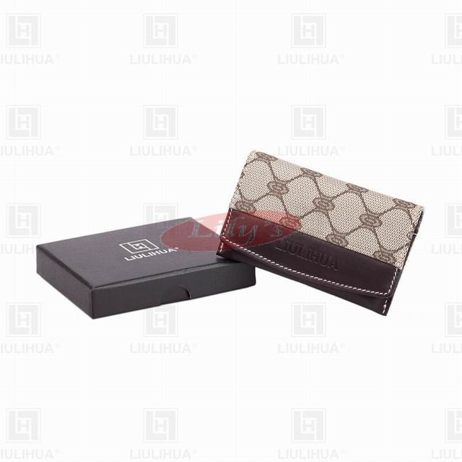 LLH Fortune Canvas With Dark Leather Trim Card Holder