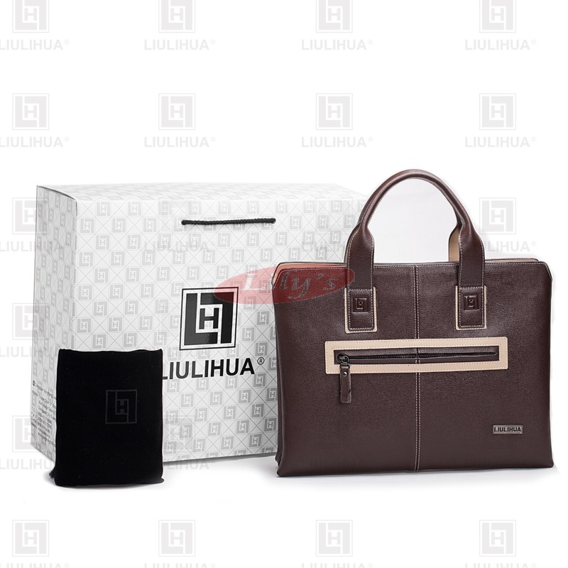 LLH Brown Leather Designer Business Handbags