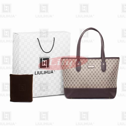 LLH Fortune Canvas With Dark Leather Trim Designer Tote