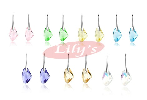 Silver earring with crystal - various colour available