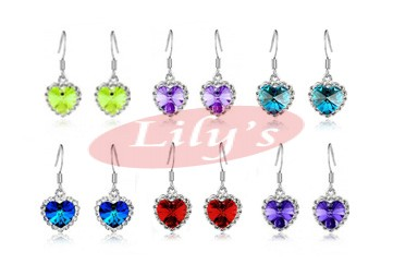 Love heart crystal earrings - various colour available - good gift idea