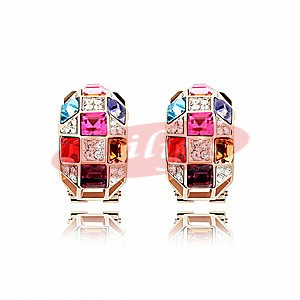 Elegant crystal earrings with multicolour crystals - great gift idea