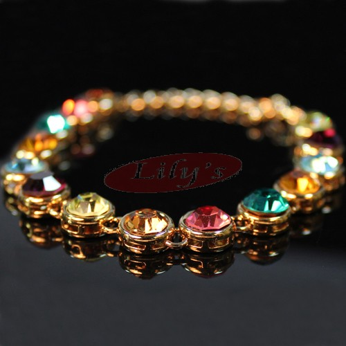 beautiful bracelet with multi colour crystals - gift for her